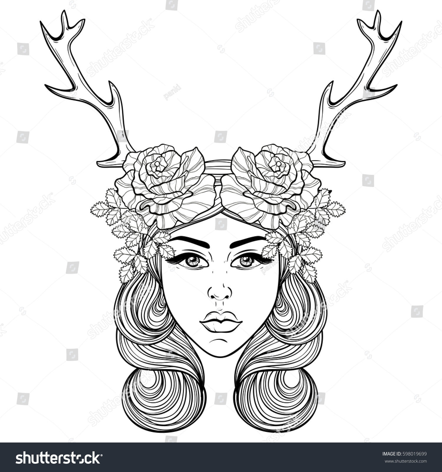 Royalty Free Beautiful Girl With Deers Horns Like 598019699 Stock