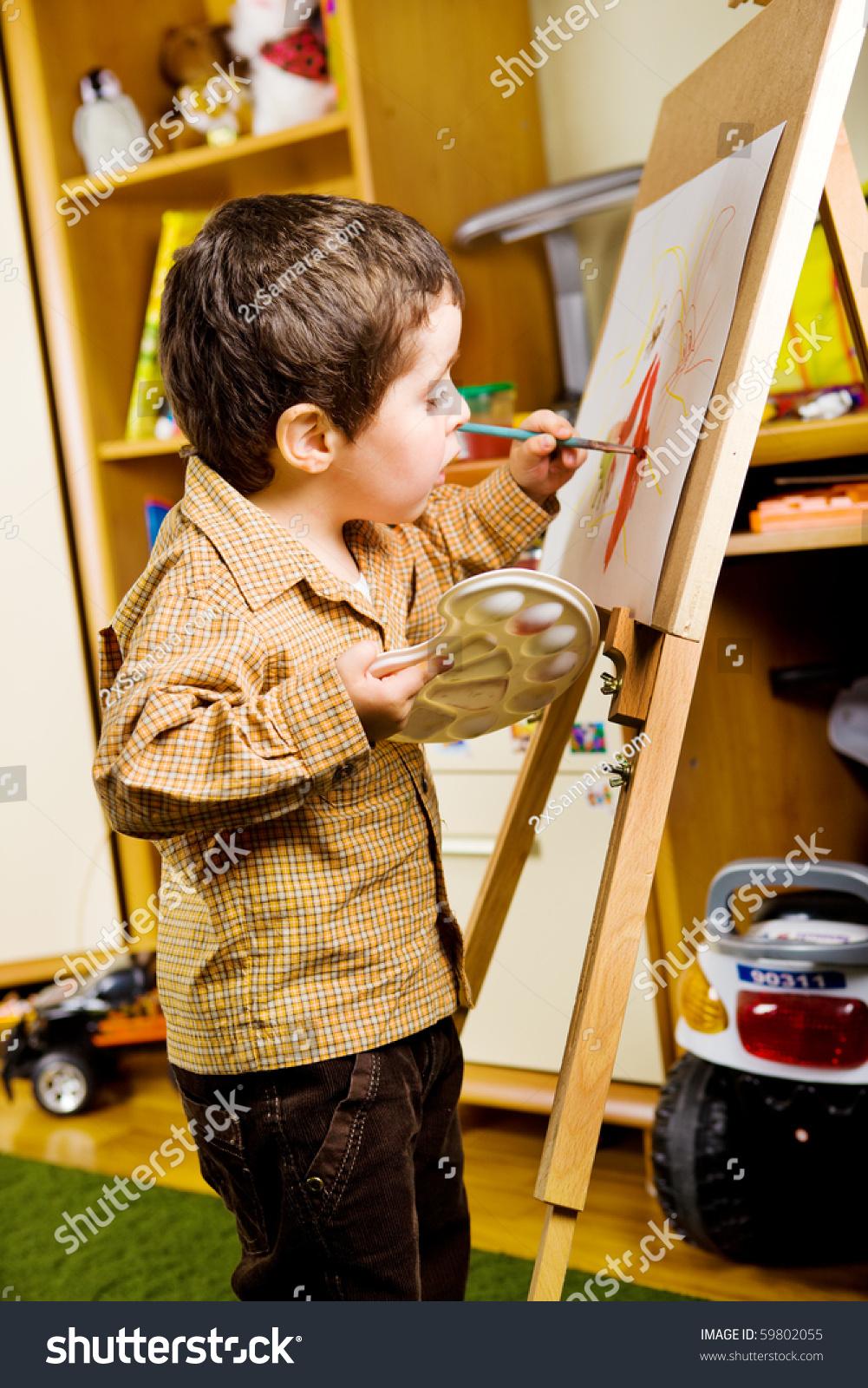 Preschool Boy Painting In His Room Stock Photo 59802055