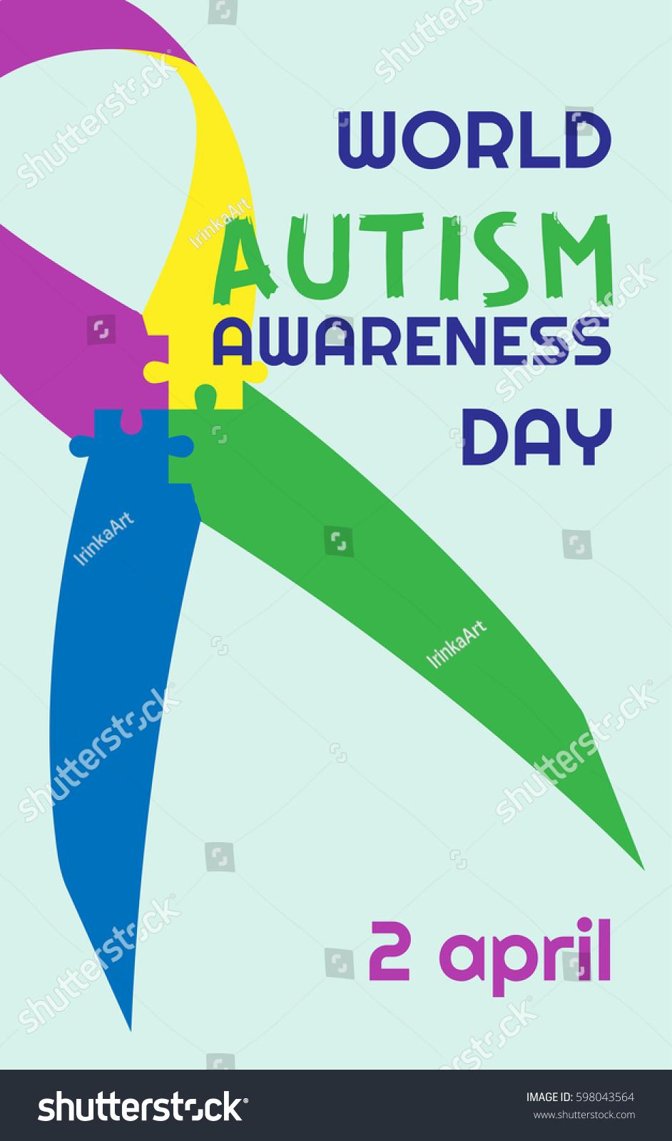 World autism awareness day ribbon puzzles stock vector 598043564 world autism awareness day ribbon puzzles vector colorful puzzles vector on tape symbol of biocorpaavc