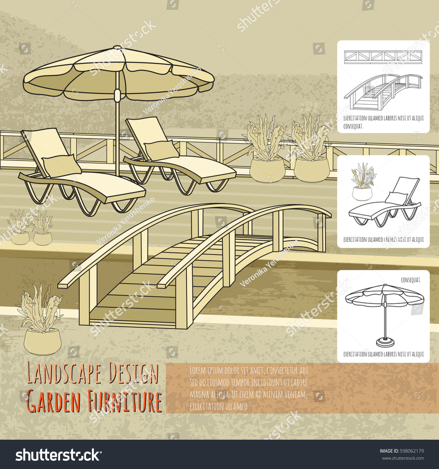 Vector Illustration Of Hand Drawn Lounge Chairs Under Patio Umbrella,  Bridge And Flowers In Pot