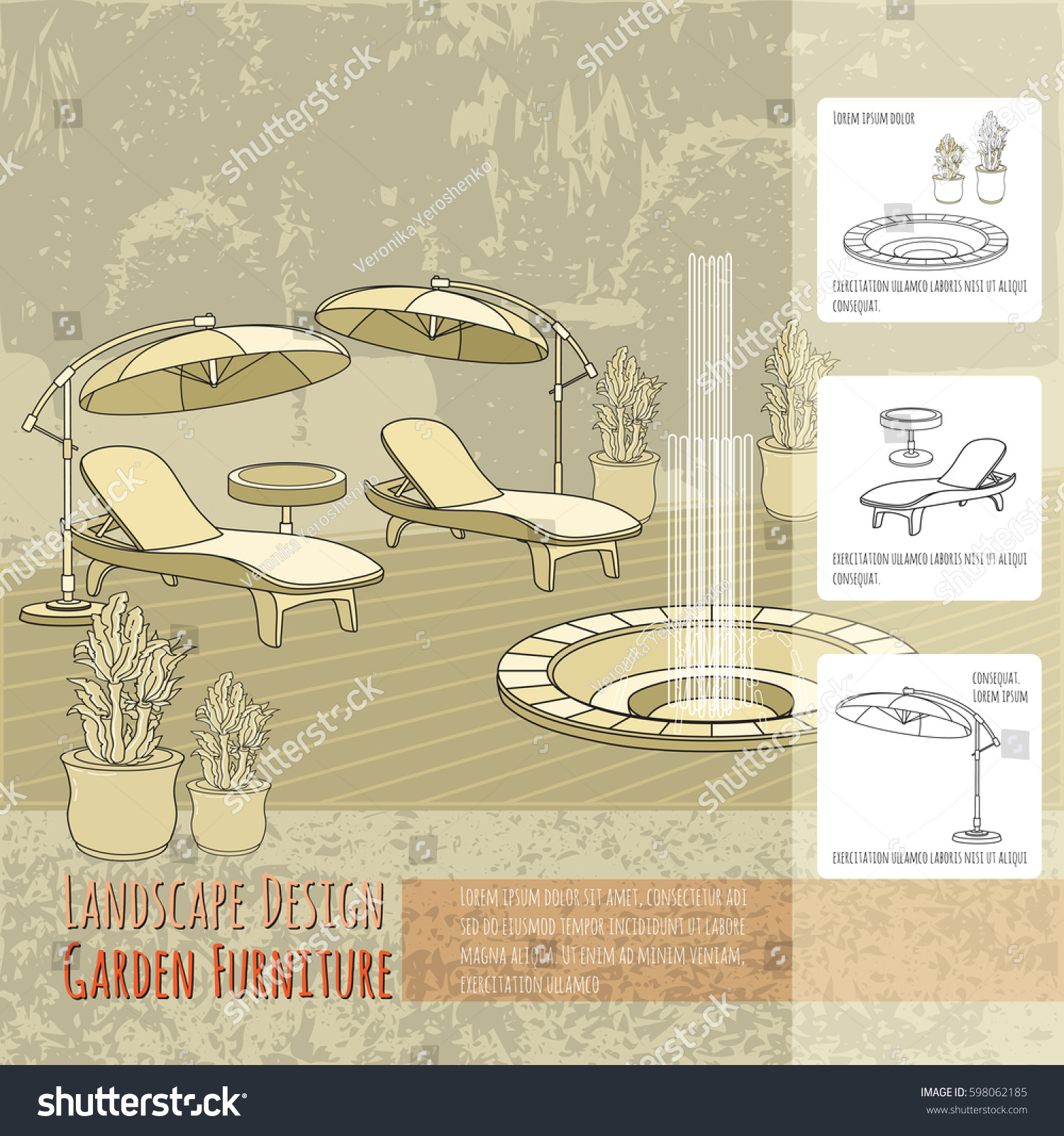 Vector Illustration Of Hand Drawn Lounge Chairs Under Patio Umbrella,  Fountain And Flowers In Pot