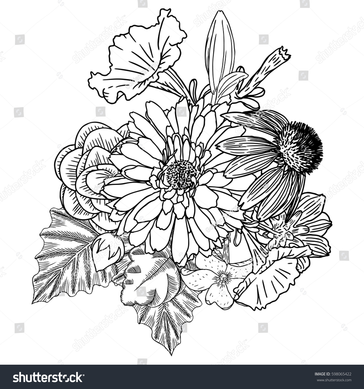 Flowers bouquet of different hand drawn flowers vintage black flowers bouquet of different hand drawn flowers vintage black white and isolated can be used as invitation greeting card print raster ez canvas izmirmasajfo