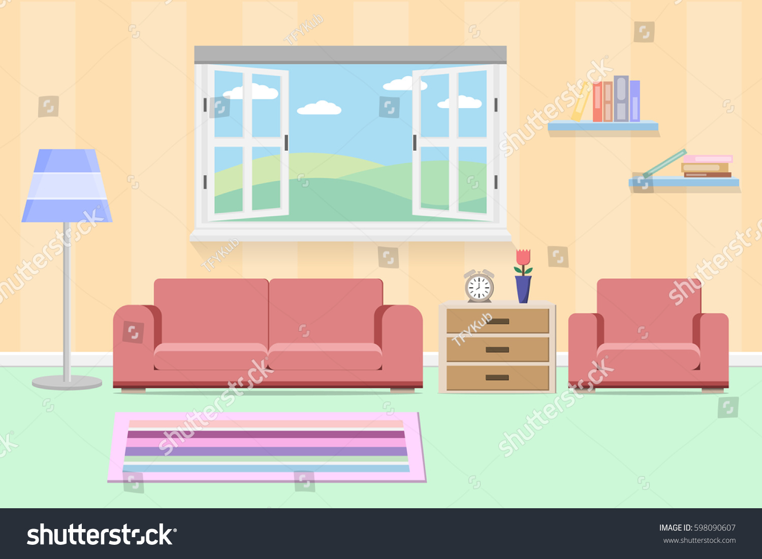 Cartoon kitchen with cabinets and window vector art illustration - Interior Living Design With Window And Furniture Vector And Illustration