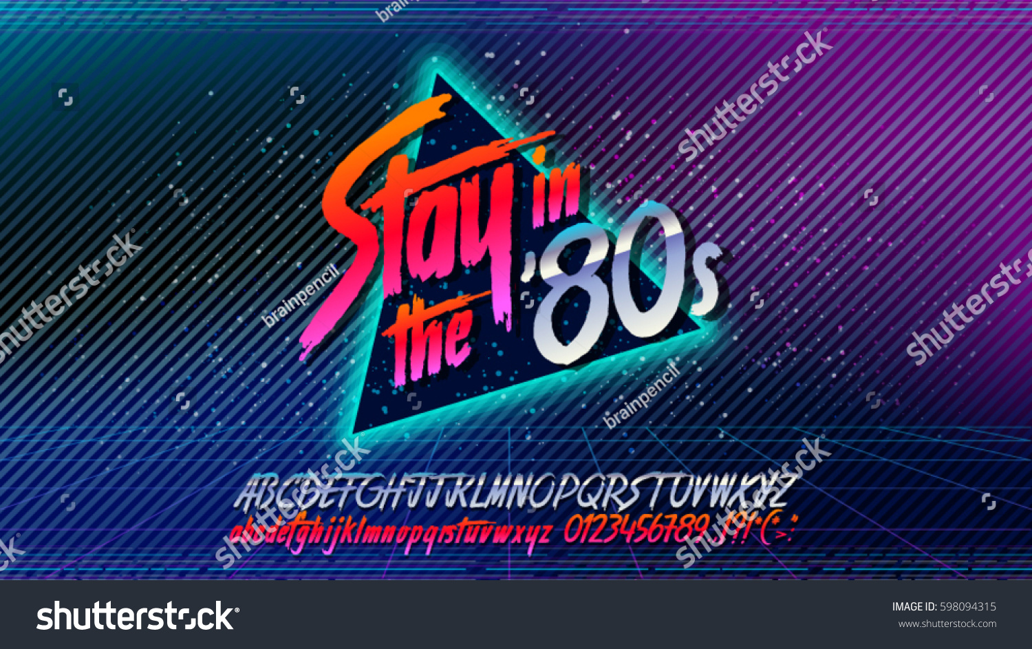 80s poster design - 80s Stay In The 80 S Retro Alphabet Font Banner Alphabet Vector Old Style
