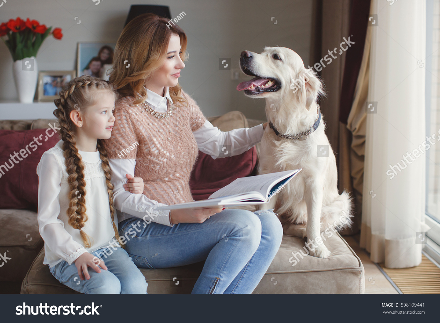 Mom and daughter and dog stock illustration. Illustration ... |Dog Mom And Daughter