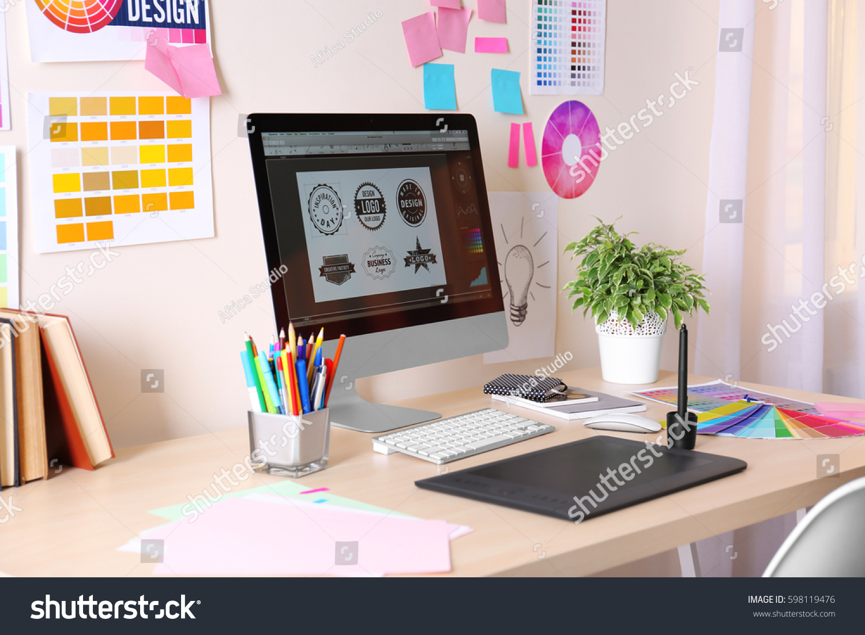 Modern Designer Workplace Computer Stationery Stock Photo 598119476