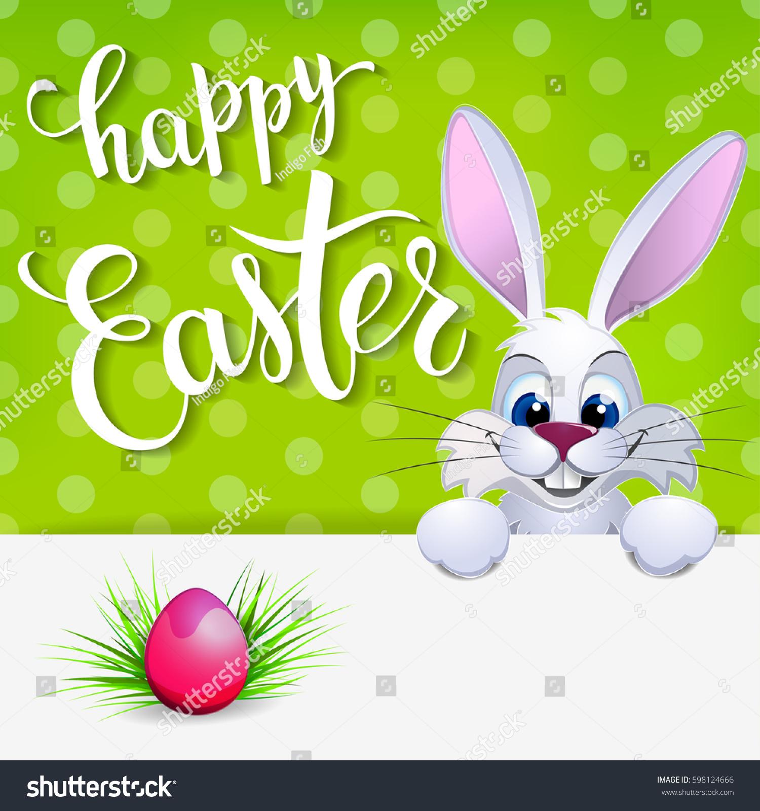 Easter Greeting Card Rabbit Eggs Original Stock Vector Royalty Free