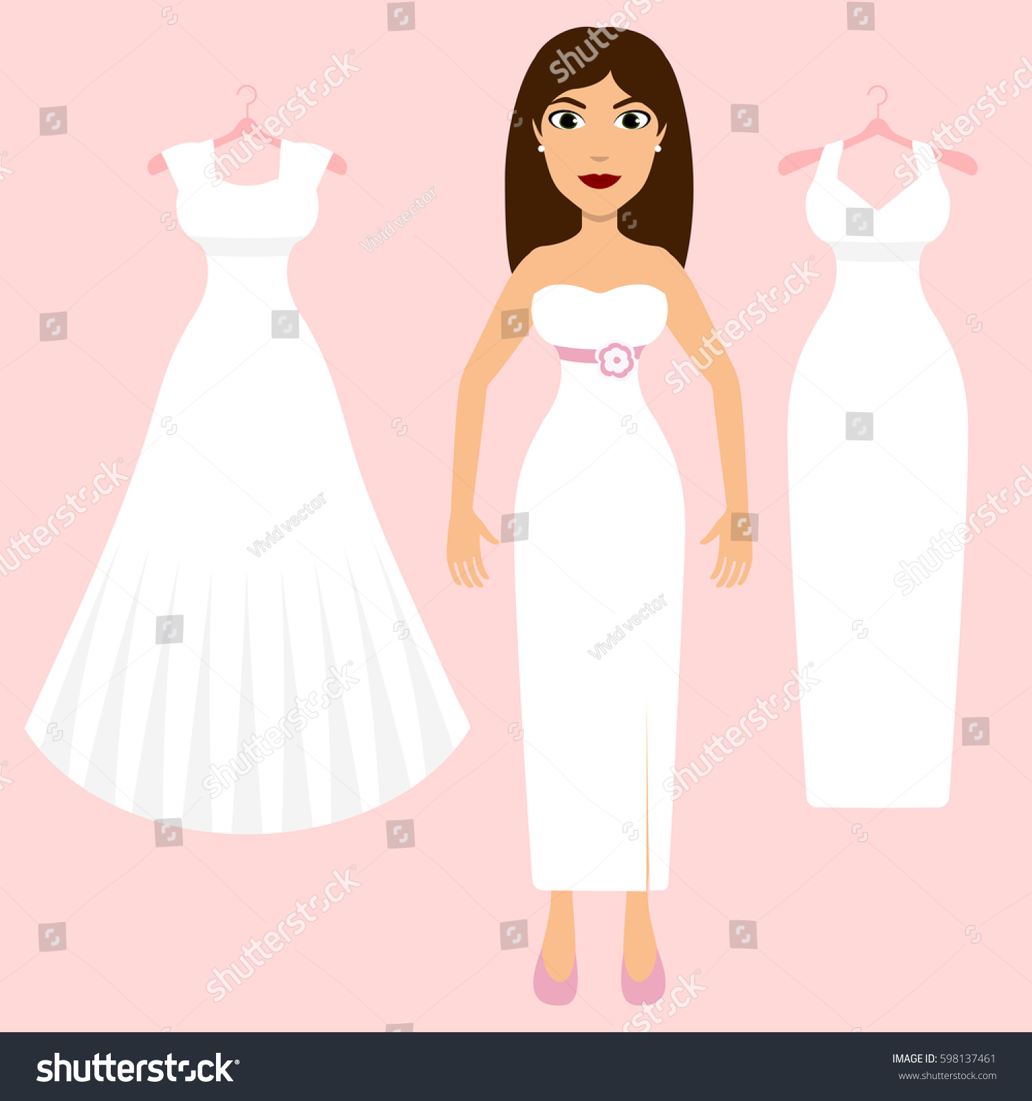 Wedding Dress Fitting Bride Different Wedding Stock Vector (Royalty ...