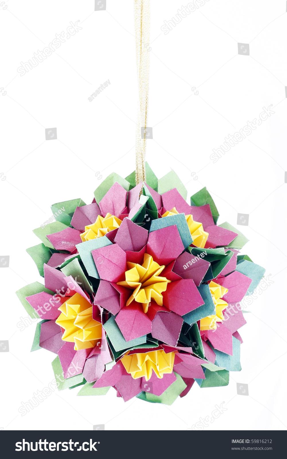 Origami Kusudama Papermade Ball Isolated On Stock Photo Edit Now