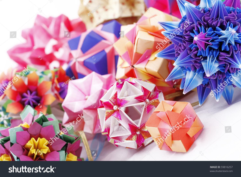 Origami Kusudama Papermade Balls Composition Isolated Stock Photo