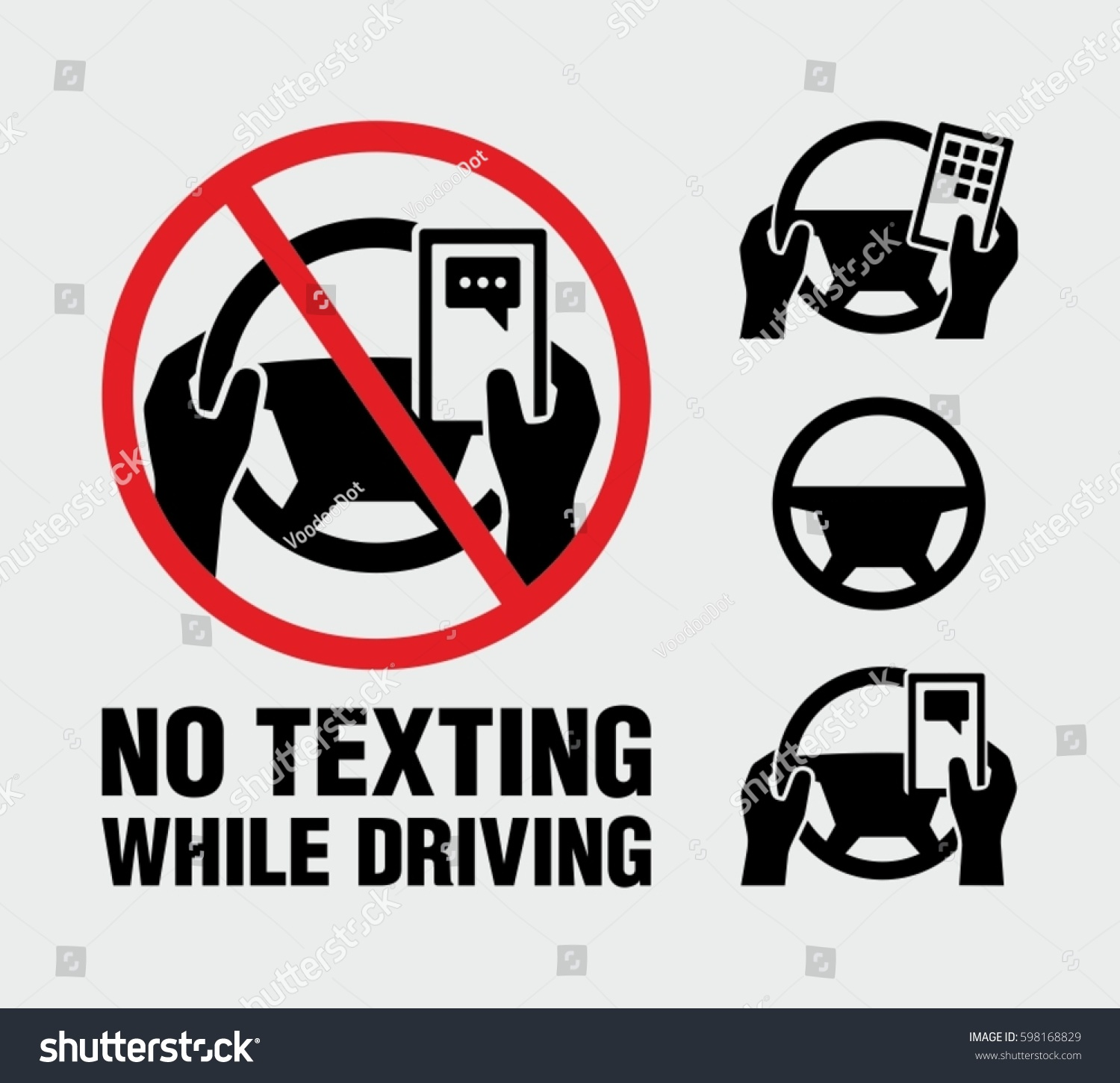 No texting, no cell phone use while driving vector sign