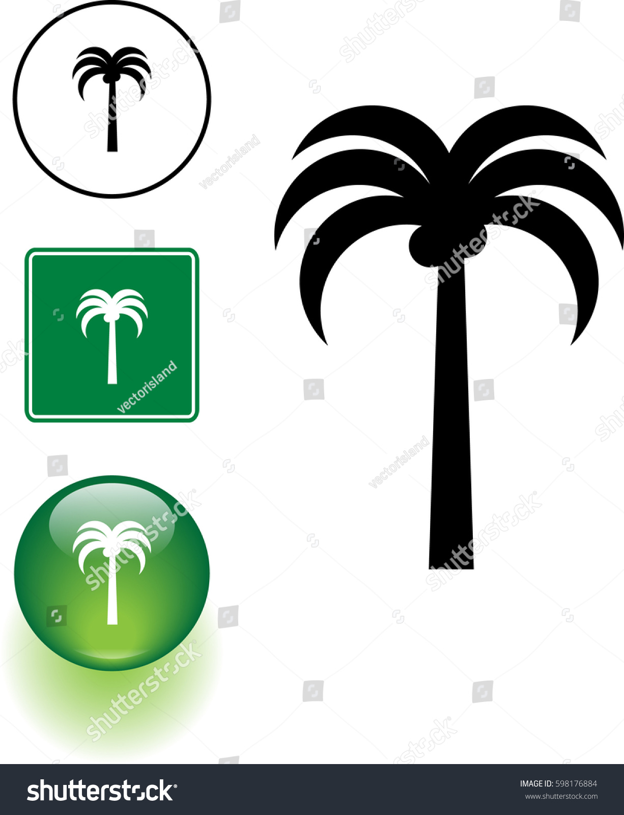 Palm Tree Symbol Sign Button Stock Vector Royalty Free 598176884
