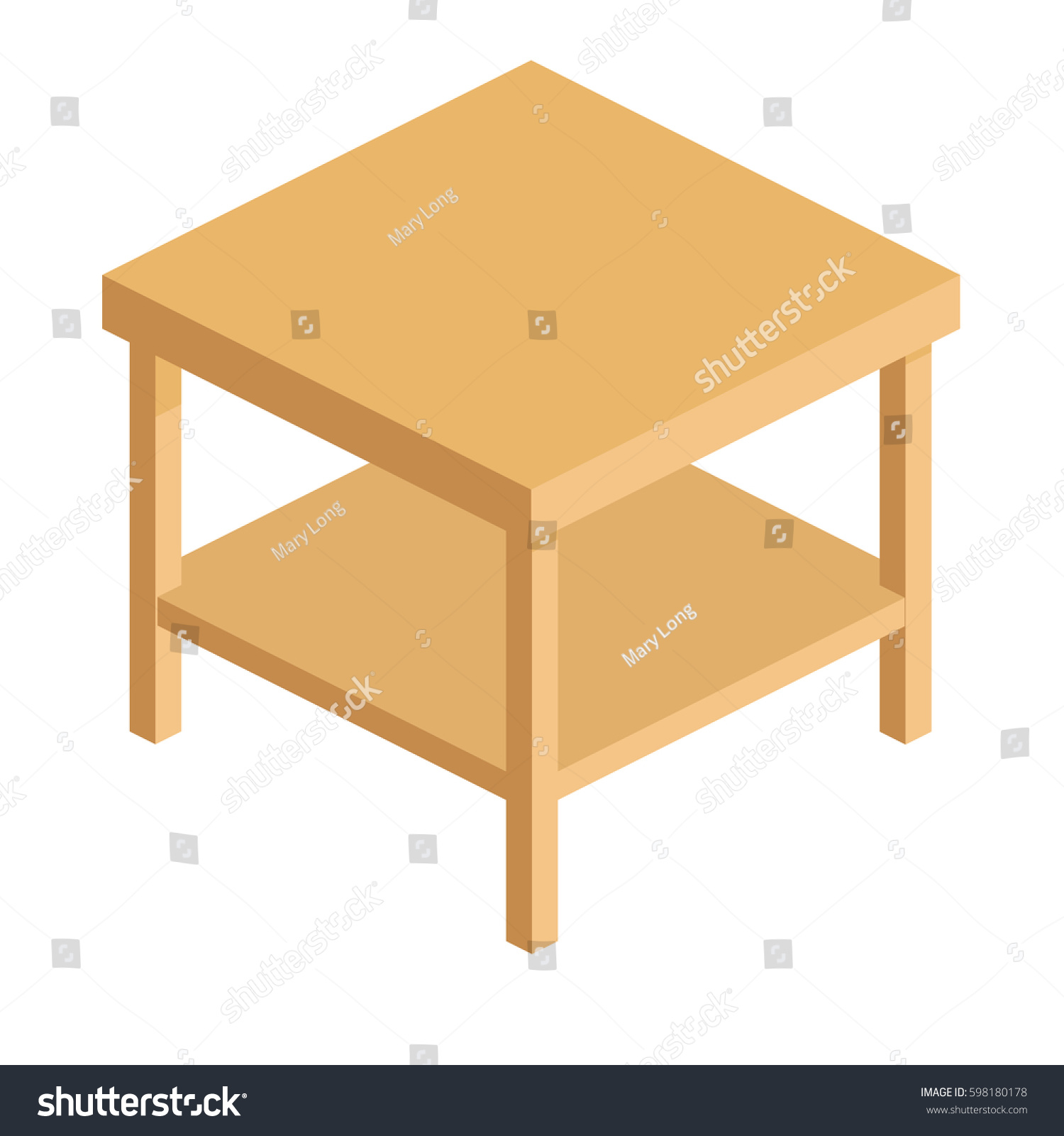 Coffee Table Shelf Books Flat 3d Stock Vector Shutterstock