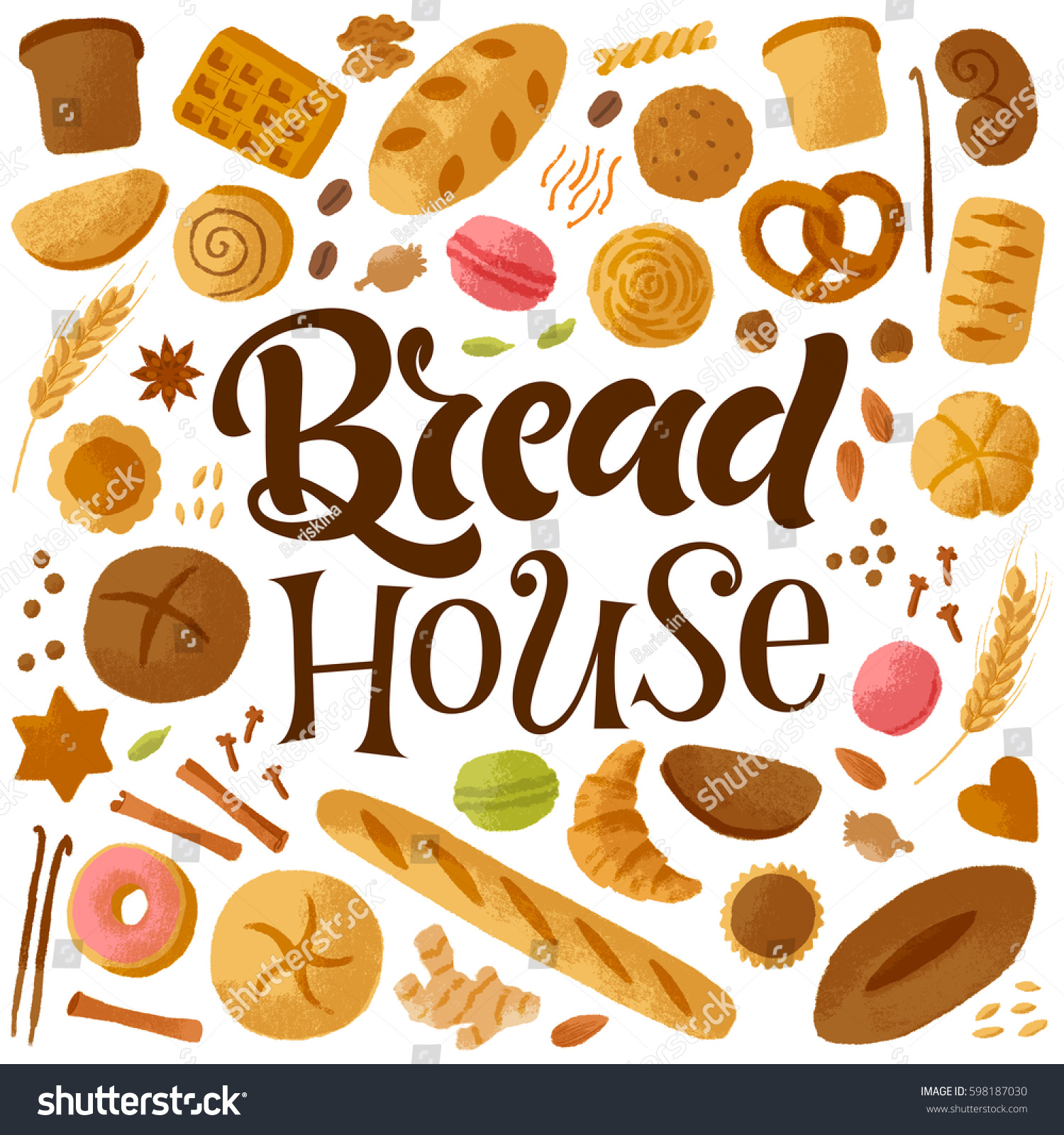 For restaurant pictures graphics illustrations clipart photos - Vector Handwritten Illustration Calligraphy And Graphic Elements For Bread House Bakery Hand