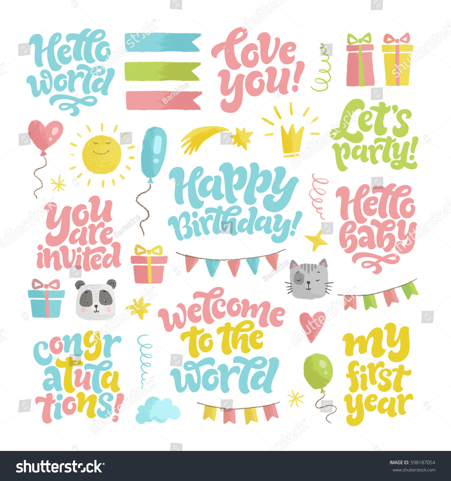 Vector Kids Illustration Hand Drawn Calligraphy Stock
