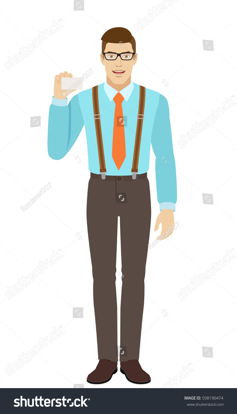 Businessman Shows Business Card Man Wearing Stock Vector 598190474 ...