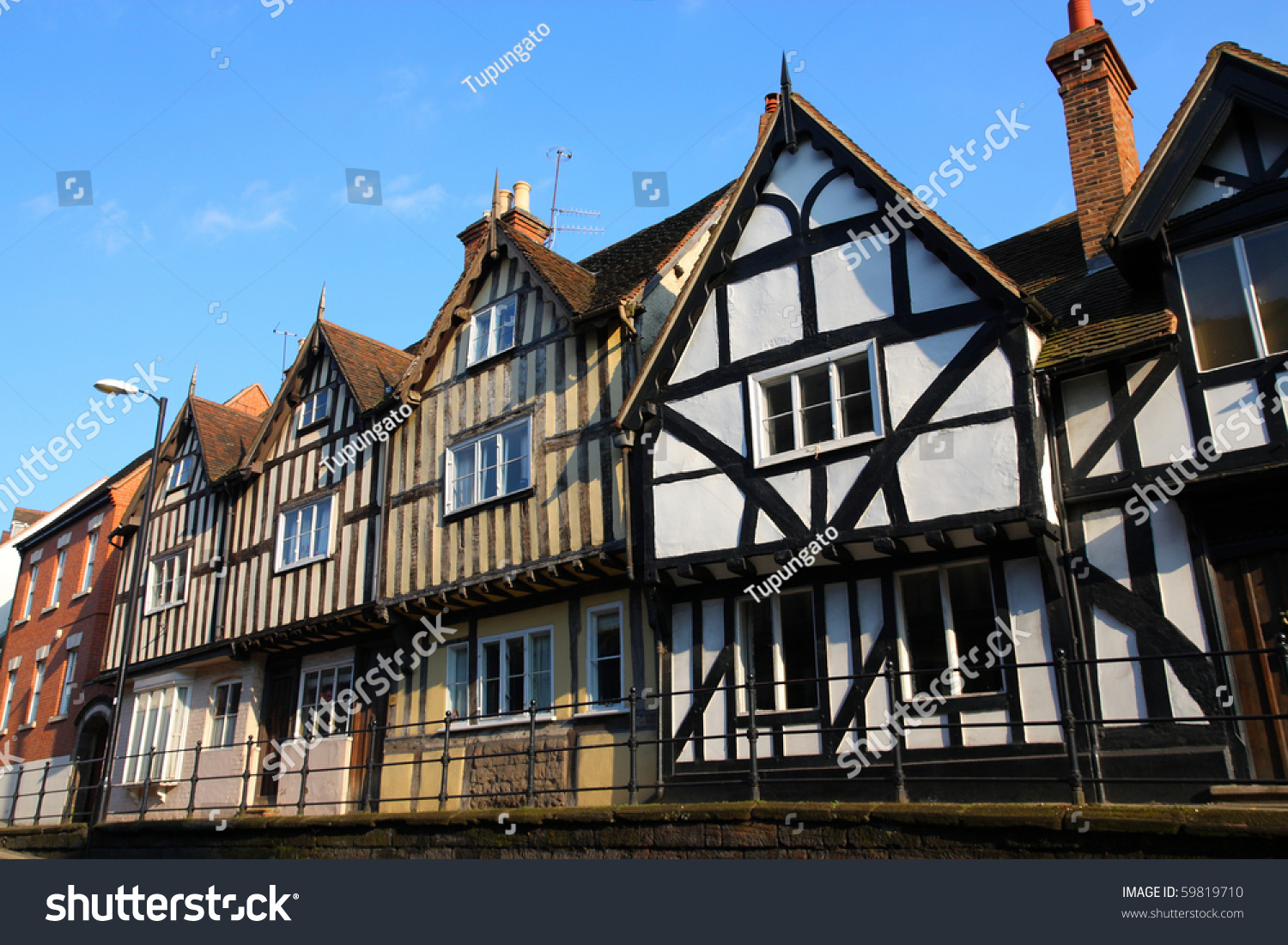 Halftimbered Buildings Typical English Architecture Warwick Stock ...