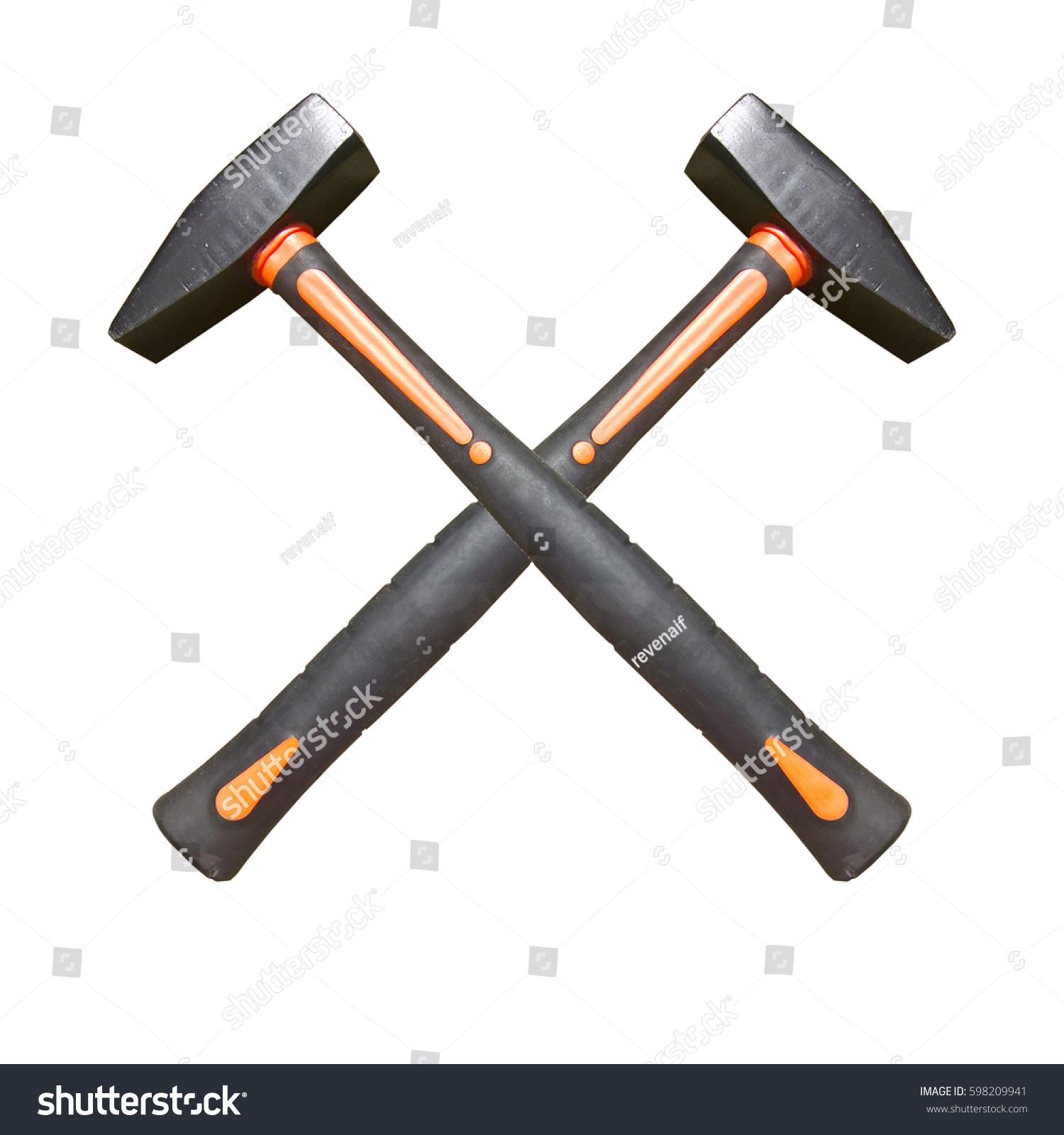 Hammer Symbol Black Orange Crossed Hammers Stock Photo Edit Now