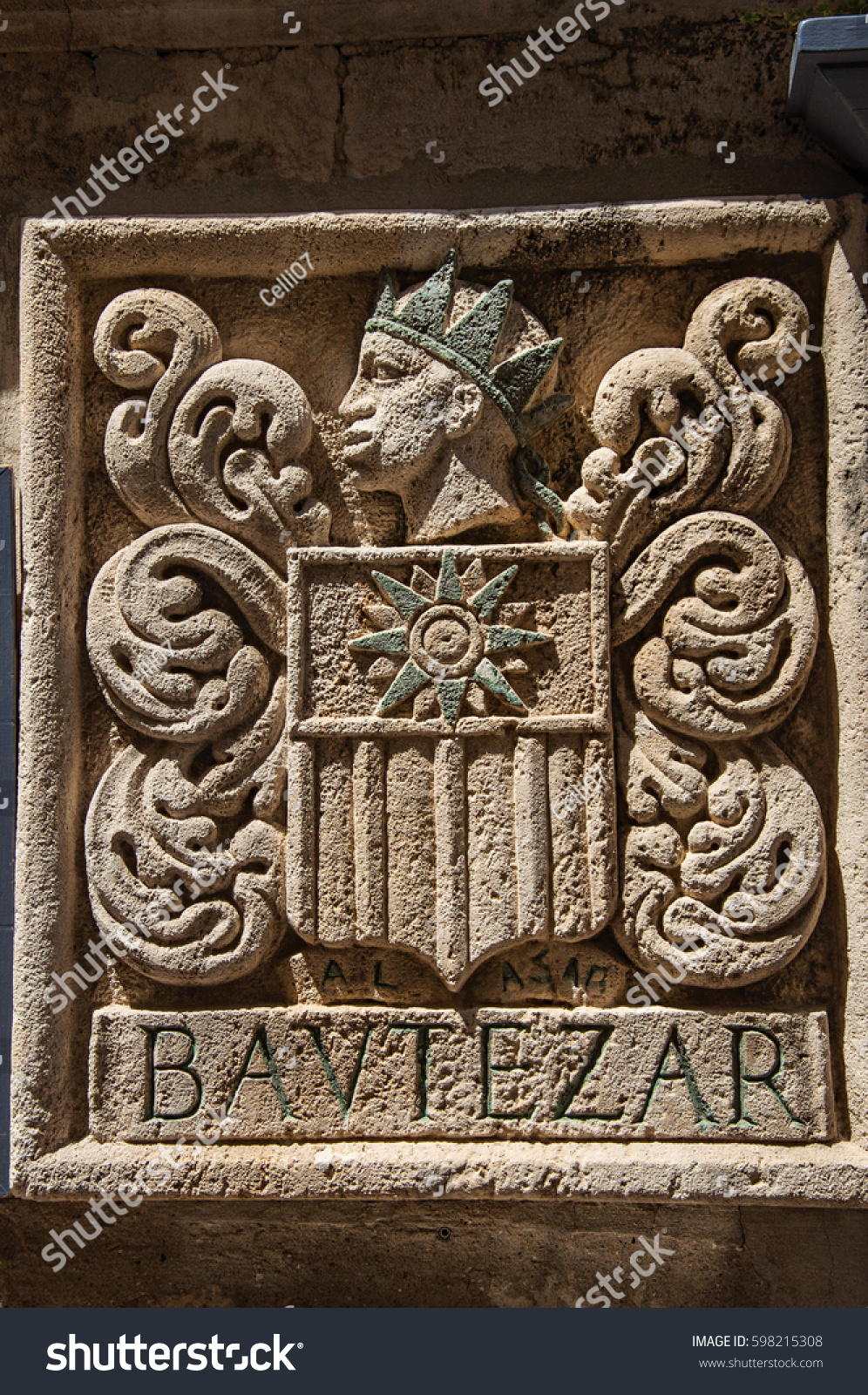 Carved Stone Fence : Closeup coat arms carved stone wall stock photo
