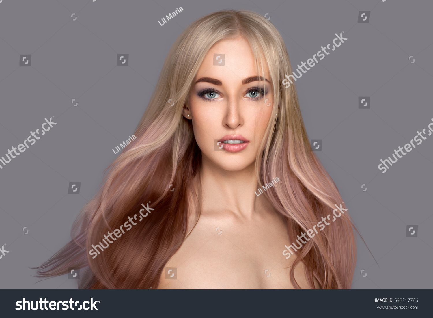 Beauty Girl With Flying Long Colored Hair Beautiful Woman With