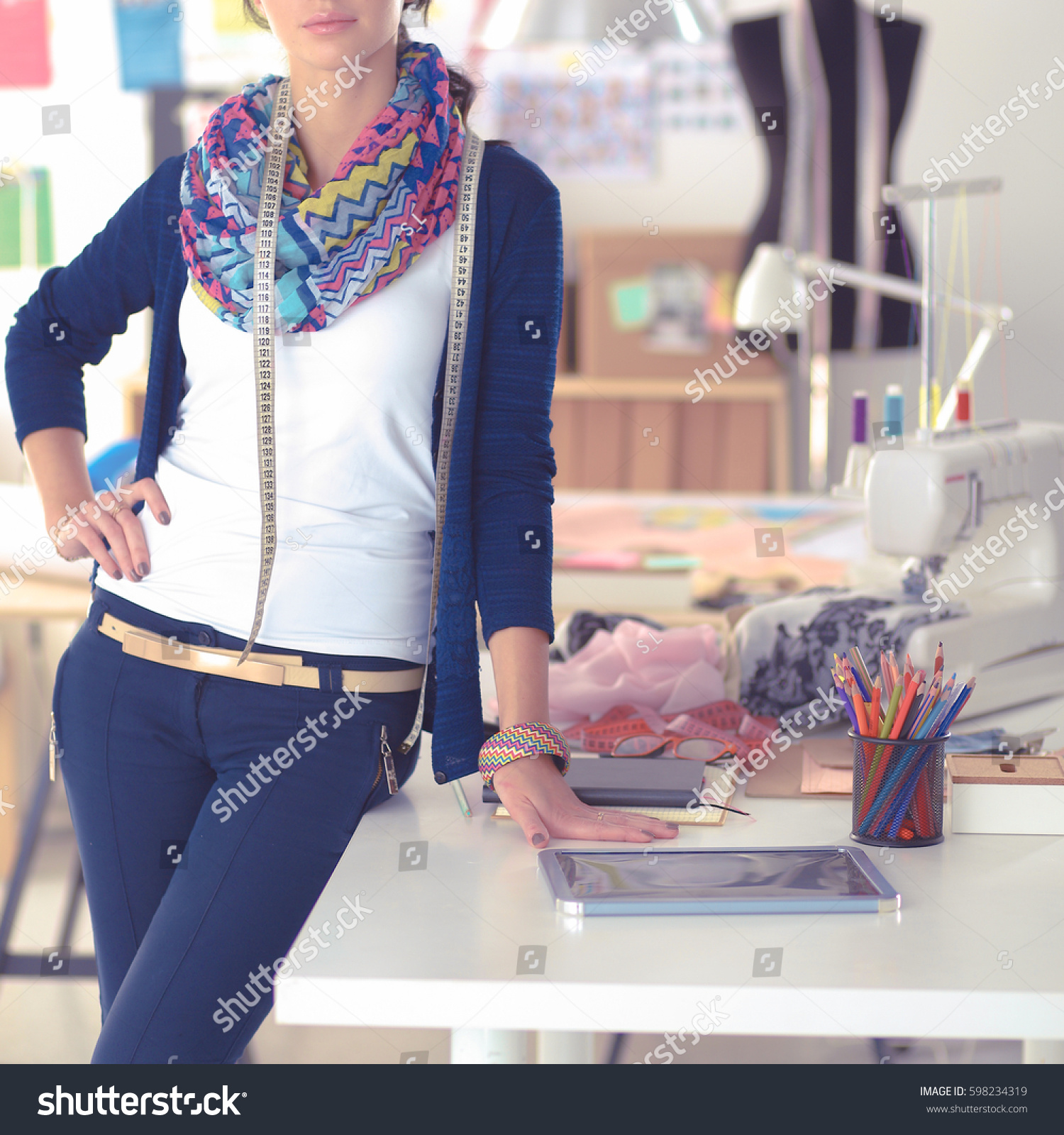 Beautiful Fashion Designer Standing Studio Stock Photo 598234319 Shutterstock