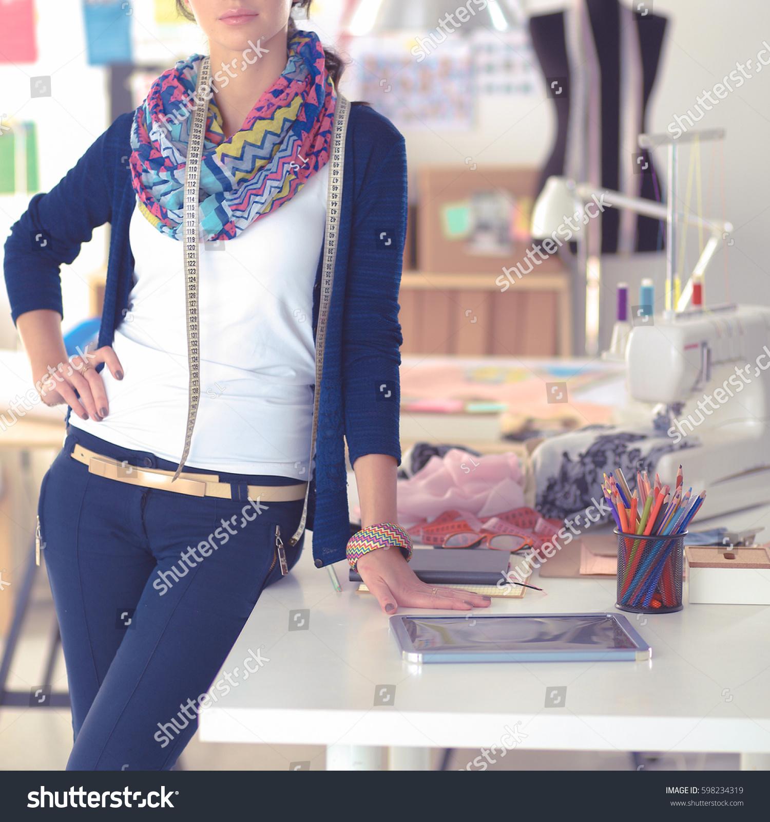 Beautiful Fashion Designer Standing Studio Stock Photo 598234319 Shutterstock