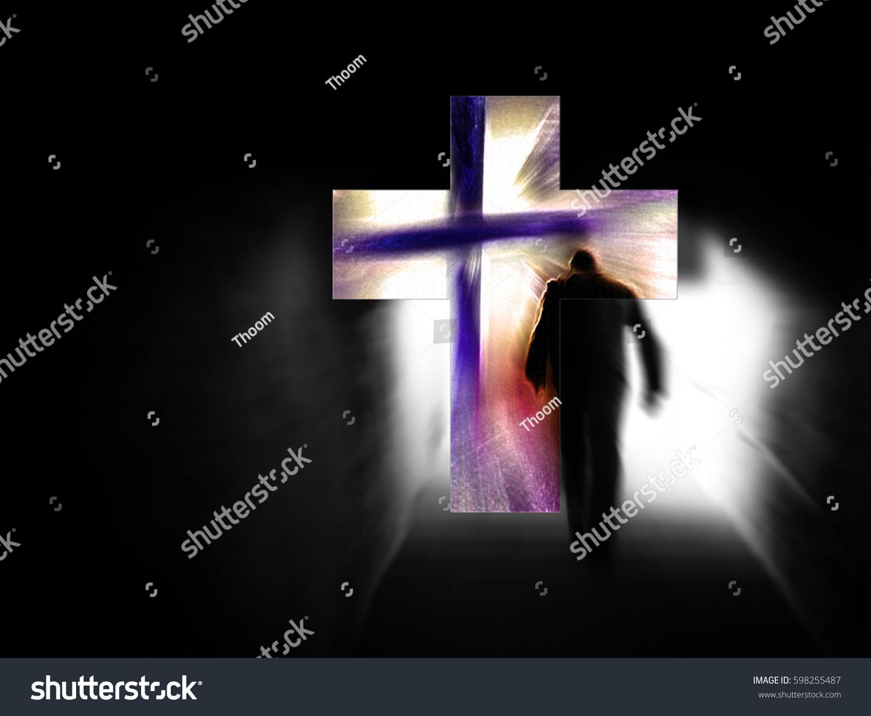 man walking darkness towards cross light stock illustration