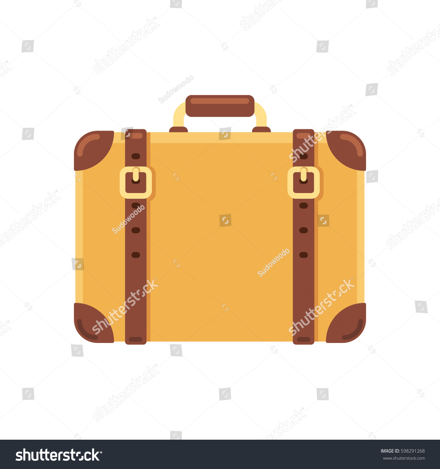 Old Vintage Suitcase Leather Belts Isolated Stock Vector 598291268 ...