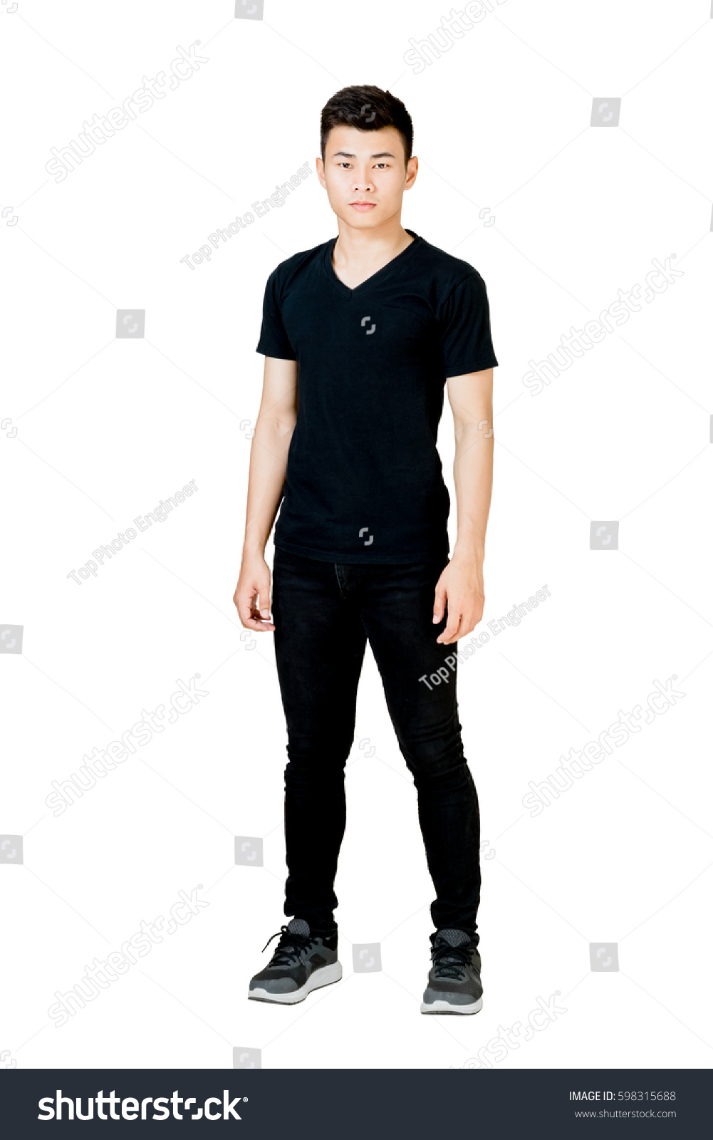 Black t shirt and jeans - Portrait Of A Man Standing In Black T Shirt And Black Jeans Isolated Full