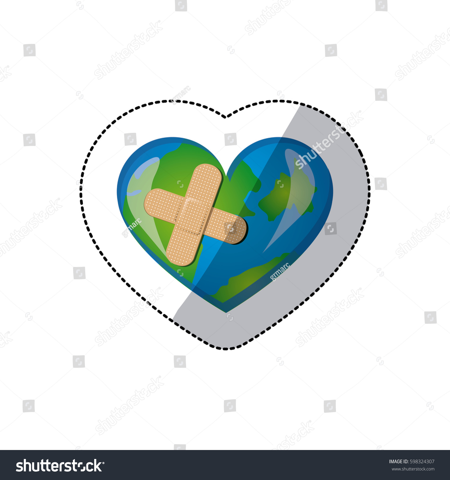 Color earth planet heart band aid stock vector 598324307 shutterstock buycottarizona Choice Image