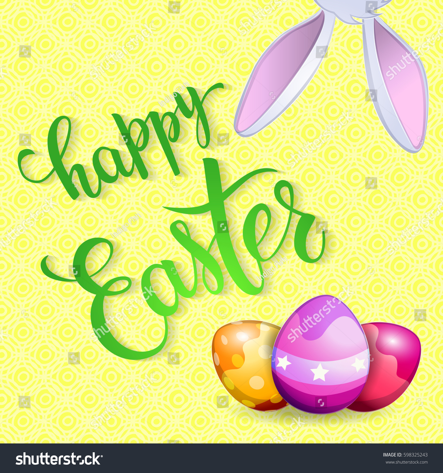 Easter Greeting Card Rabbit Eggs Original Stock Vector Royalty Free