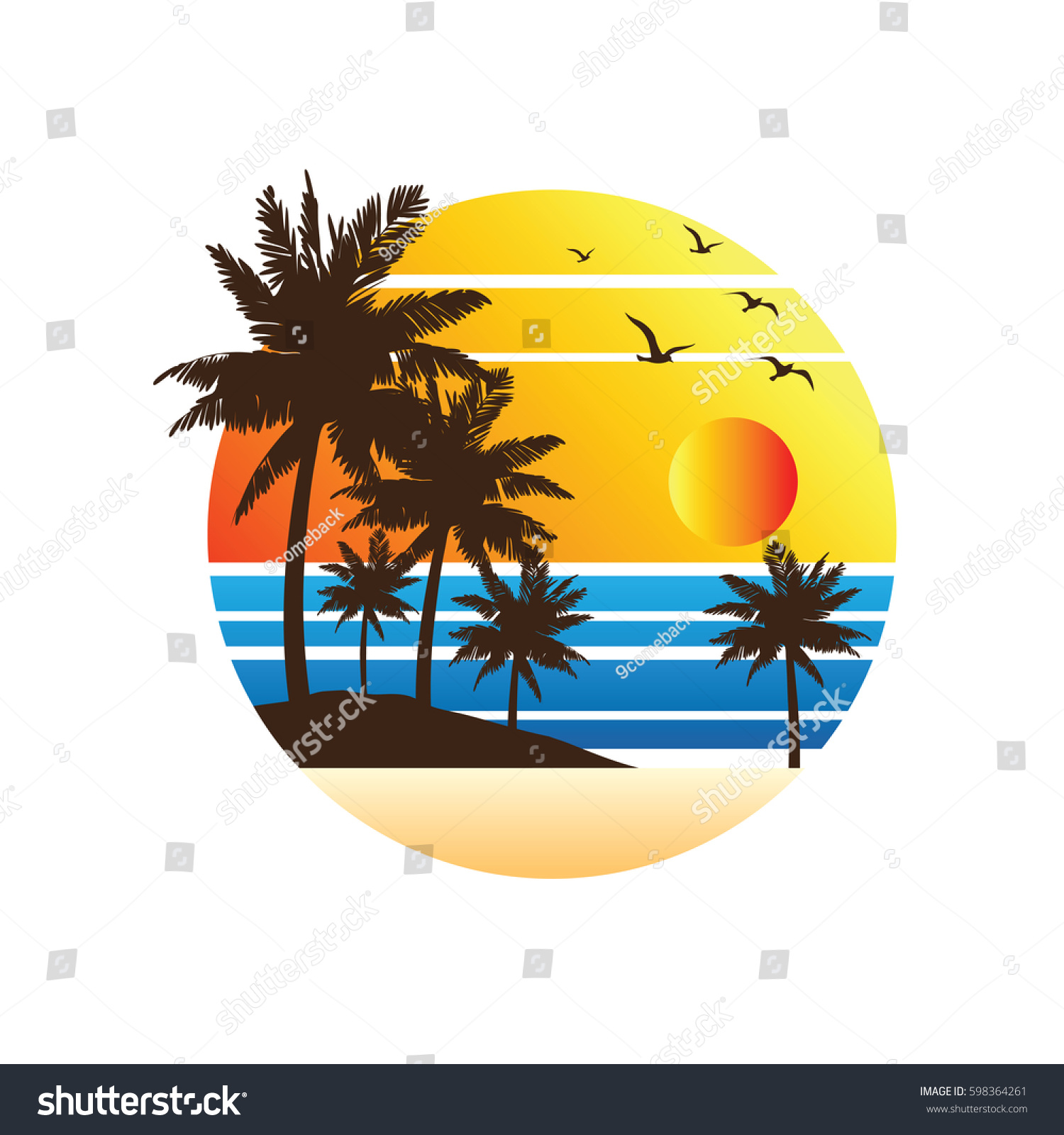 Summer Vacation On Tropical Beach Sunset Label With Palm Trees Vector Illustration