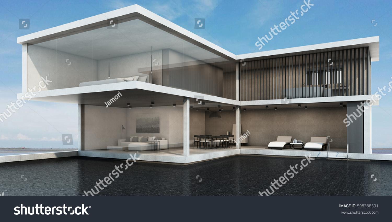 House Pool Villa Minimalist Style Design Stock Illustration
