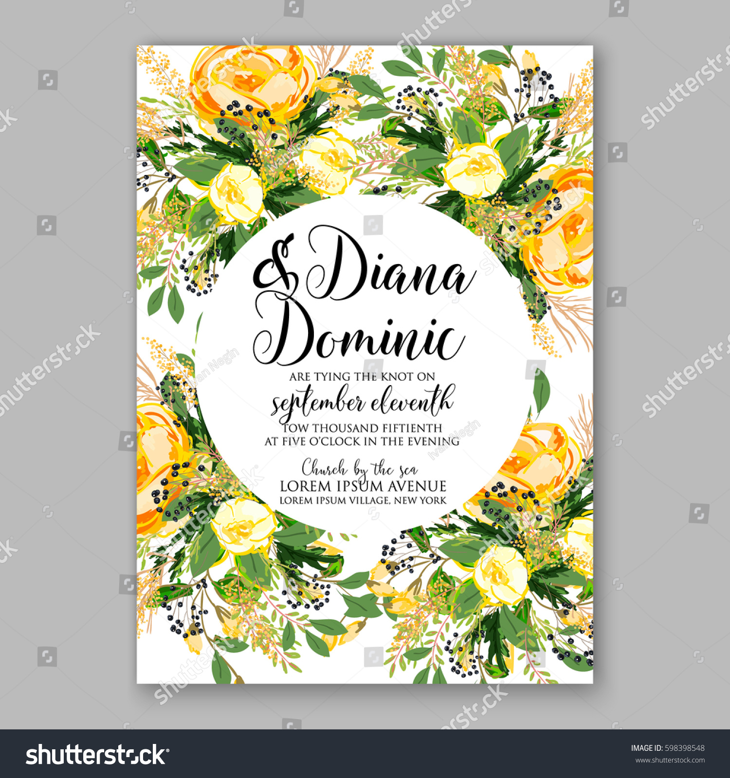wedding invitation card template yellow rose stock vector