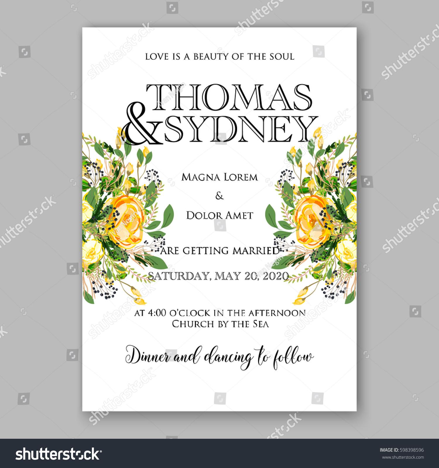 Wedding Invitation Card Template Yellow Rose Stock Vector 598398596 ...