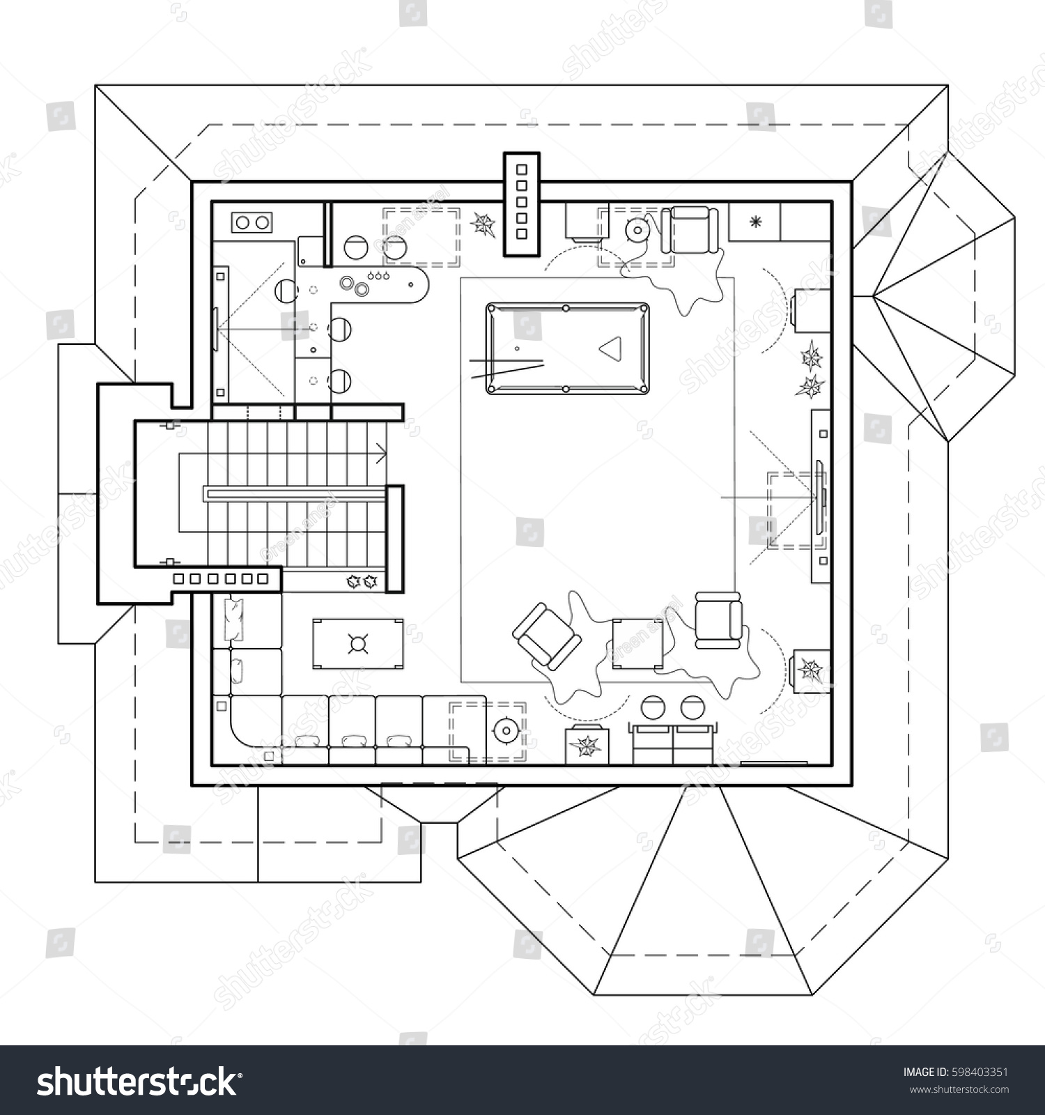 Black white architectural plan house layout stock vector for Kitchen plan view