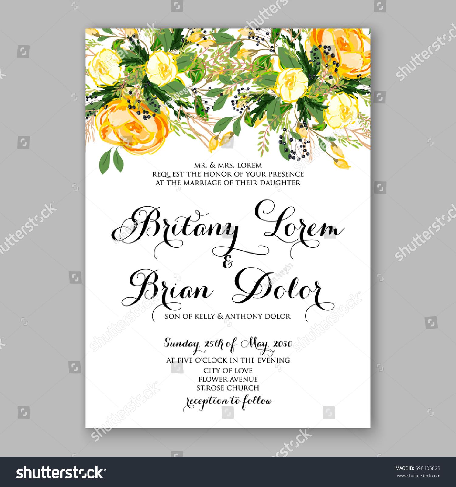 Wedding Invitation Card Template Yellow Rose Stock Vector (Royalty ...