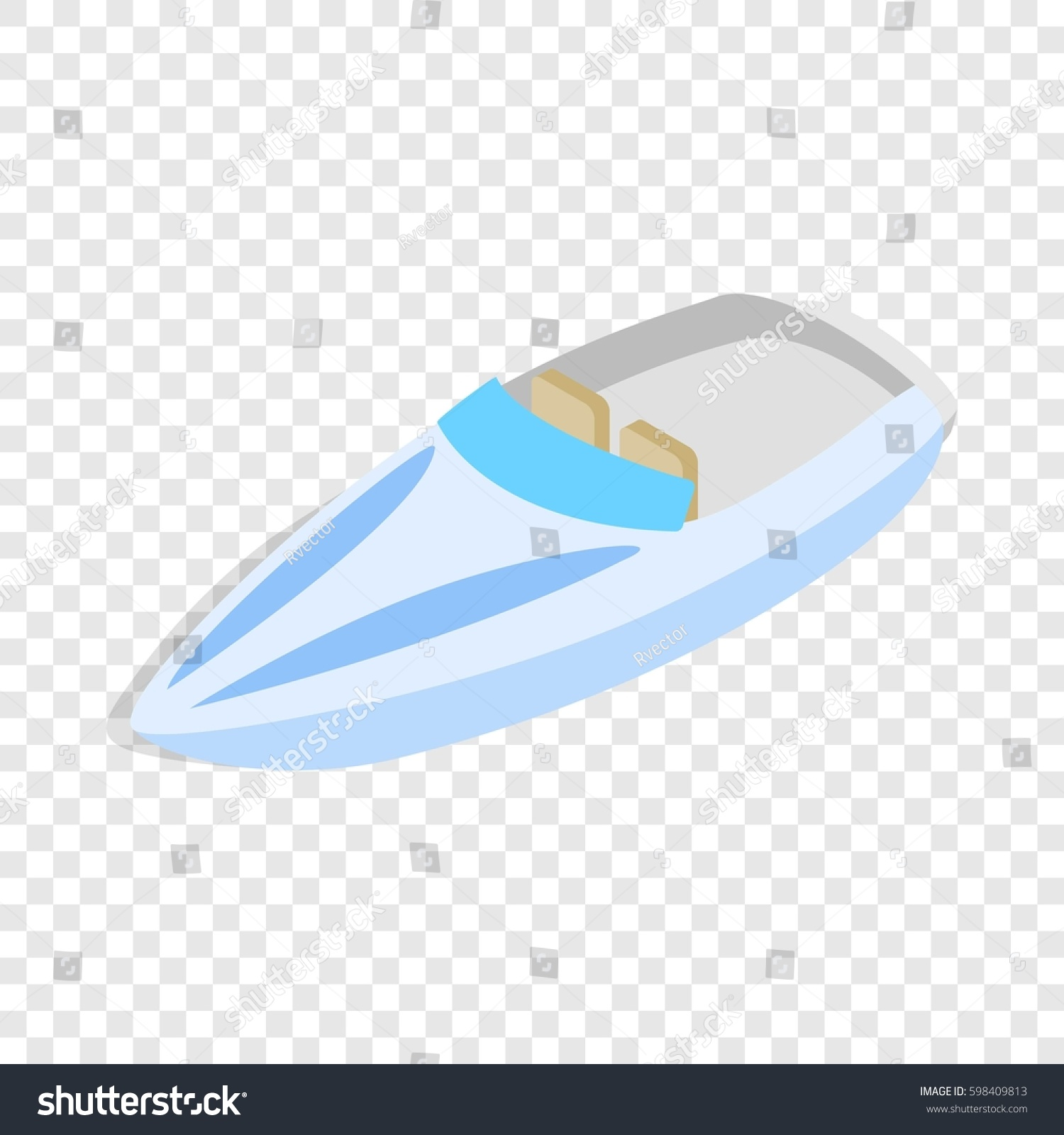 blue speed boat isometric icon 3d on a transparent background illustration