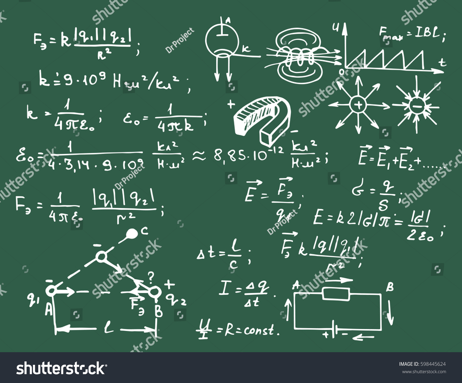 Electric Magnetic Law Theory Physics Mathematical Stock Vector Circuit Diagram Notation On Electronic Symbols And Formula Equation Physical Equations Blackboard Education