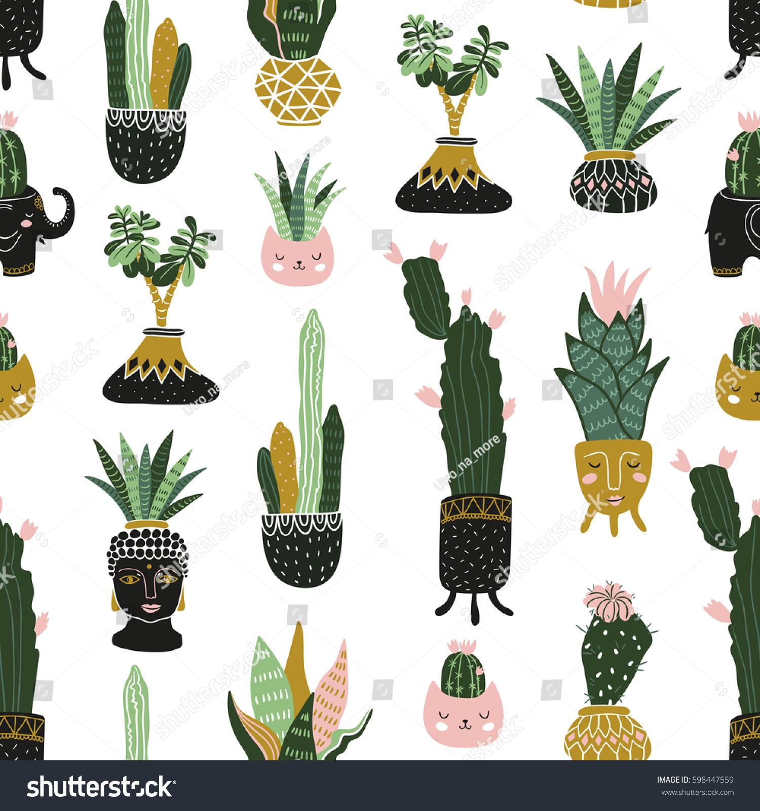 hand drawn tropical house plants scandinavian stock vector