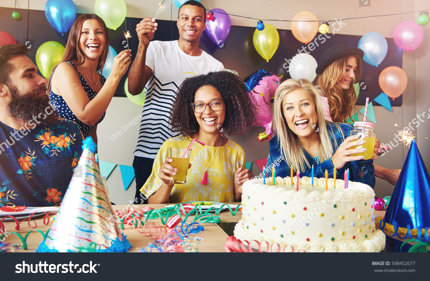 Six Young Adults Celebrating Birthday Party Stock Photo Edit Now