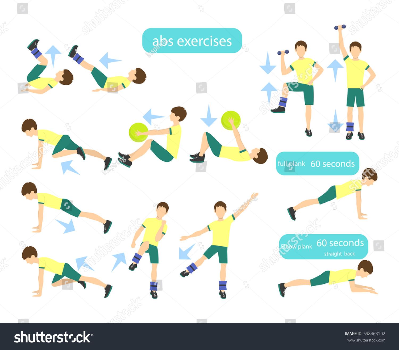 Exercises Kids Set Workout Boys Abs Stock Vector 598463102 ...