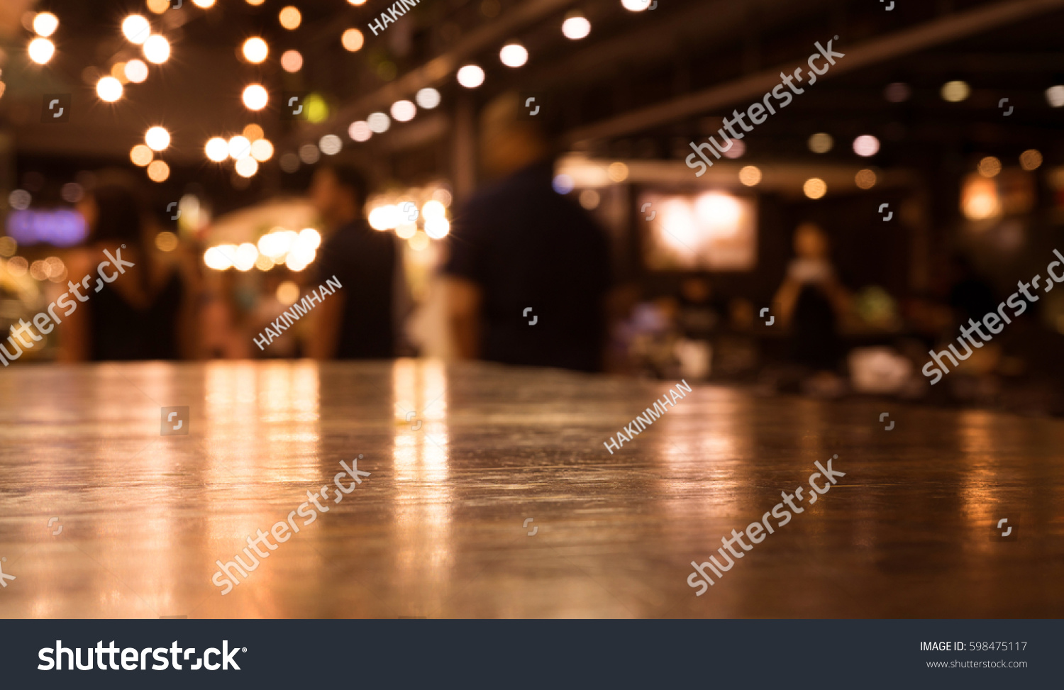 restaurant table top lighting. Empty Wood Table Top On Blur Cafe (restaurant) In Dark Night With Light Background Restaurant Lighting
