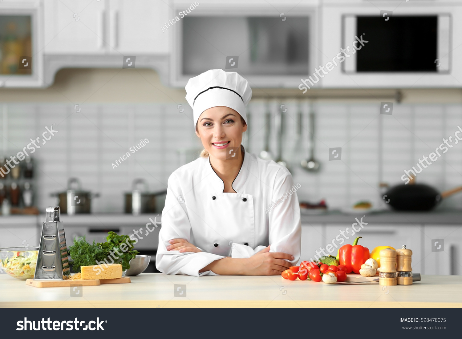 Portrait Young Female Chef Kitchen Stock Photo & Image (Royalty-Free ...