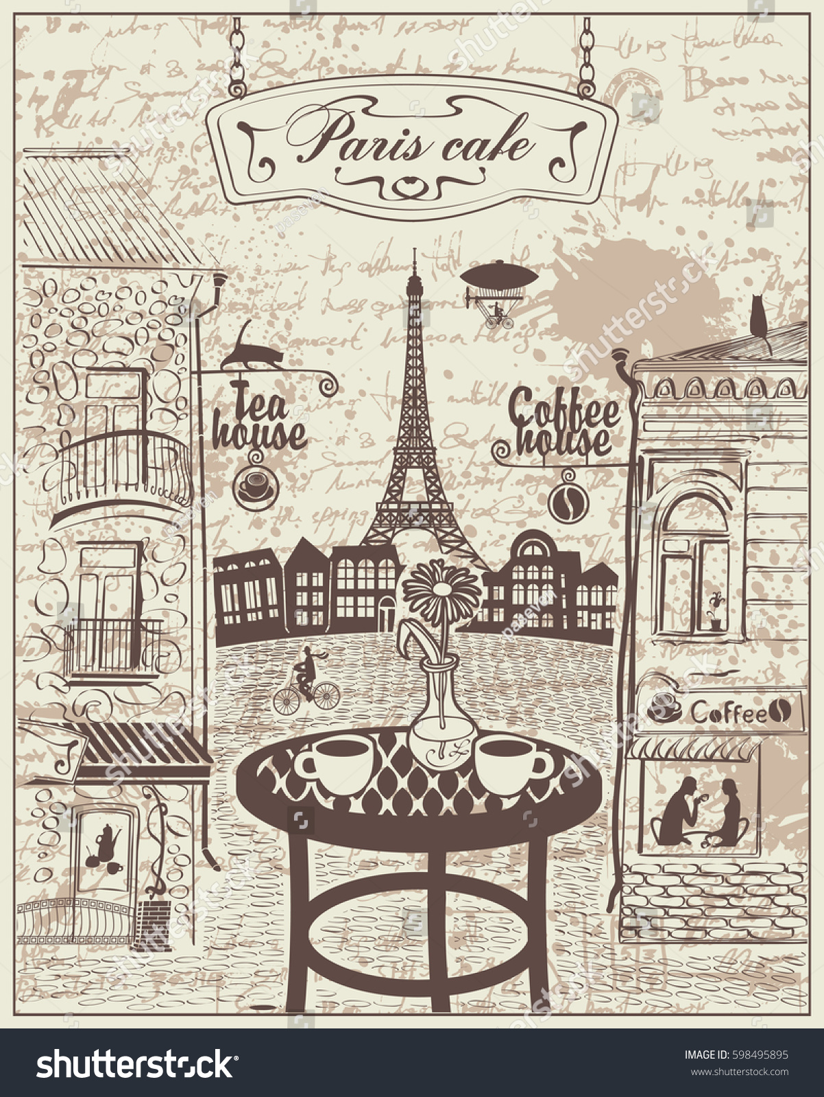 Outdoor cafe in paris with tower in background - Parisian Street Cafe With Views Of The Eiffel Tower And Old Buildings On The Background Of