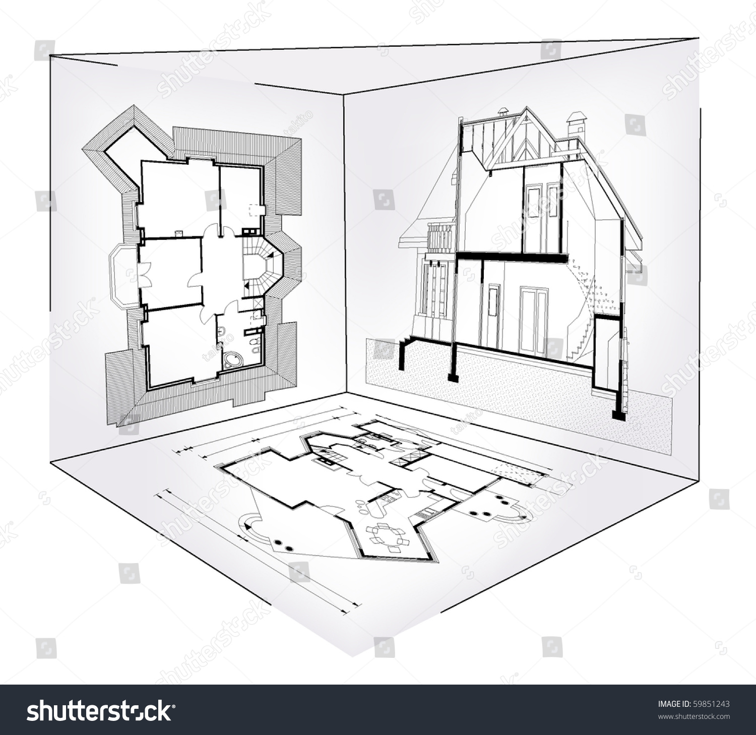 Vector illustration of abstract house blueprint inside 3d section