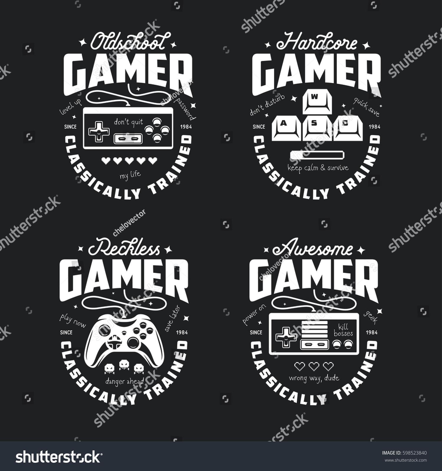 Shirt design video - Retro Video Games Related T Shirt Design Oldschool Gamer Text Monochrome Joystick Set