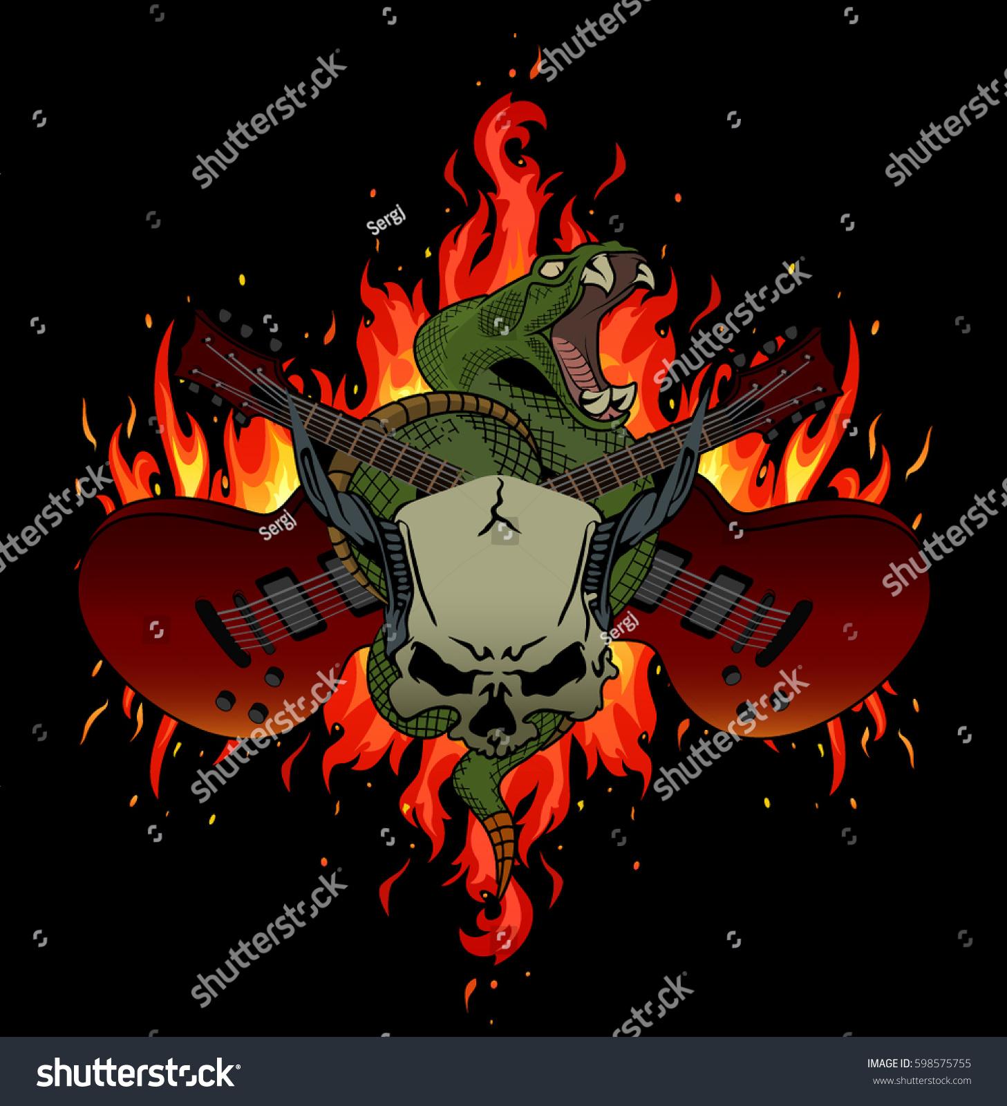 Rock Music Festival Vector Illustration Flames Stock Vector (Royalty ...