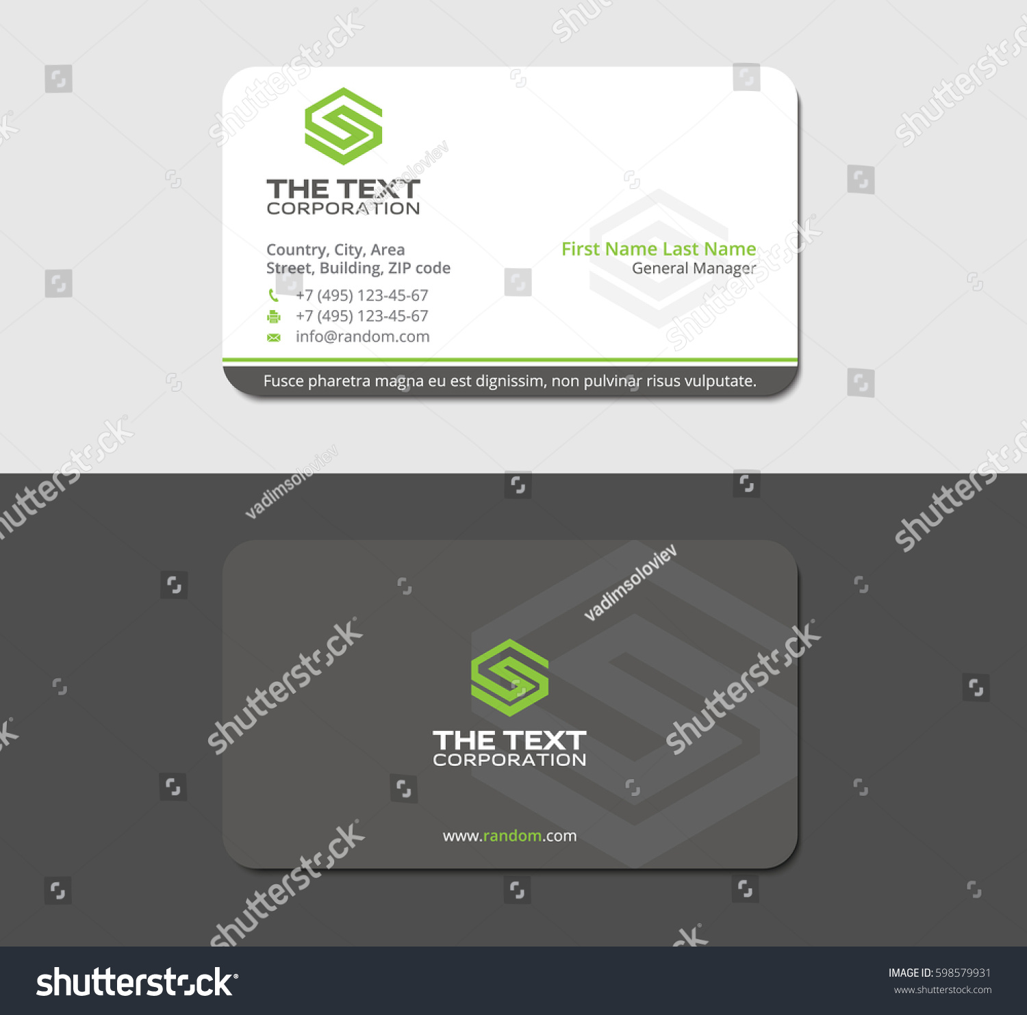 Gray commercial business card green letter stock vector hd royalty gray commercial business card with green letter s thecheapjerseys Gallery
