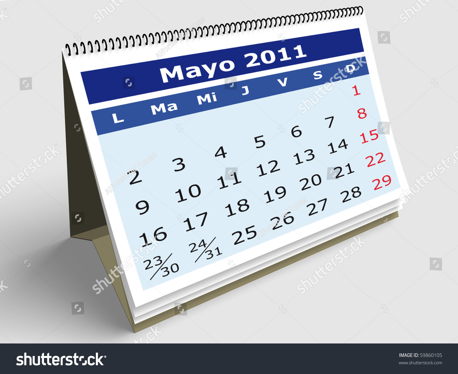 May Spanish Calendar : May in a spanish calendar for d render stock photo